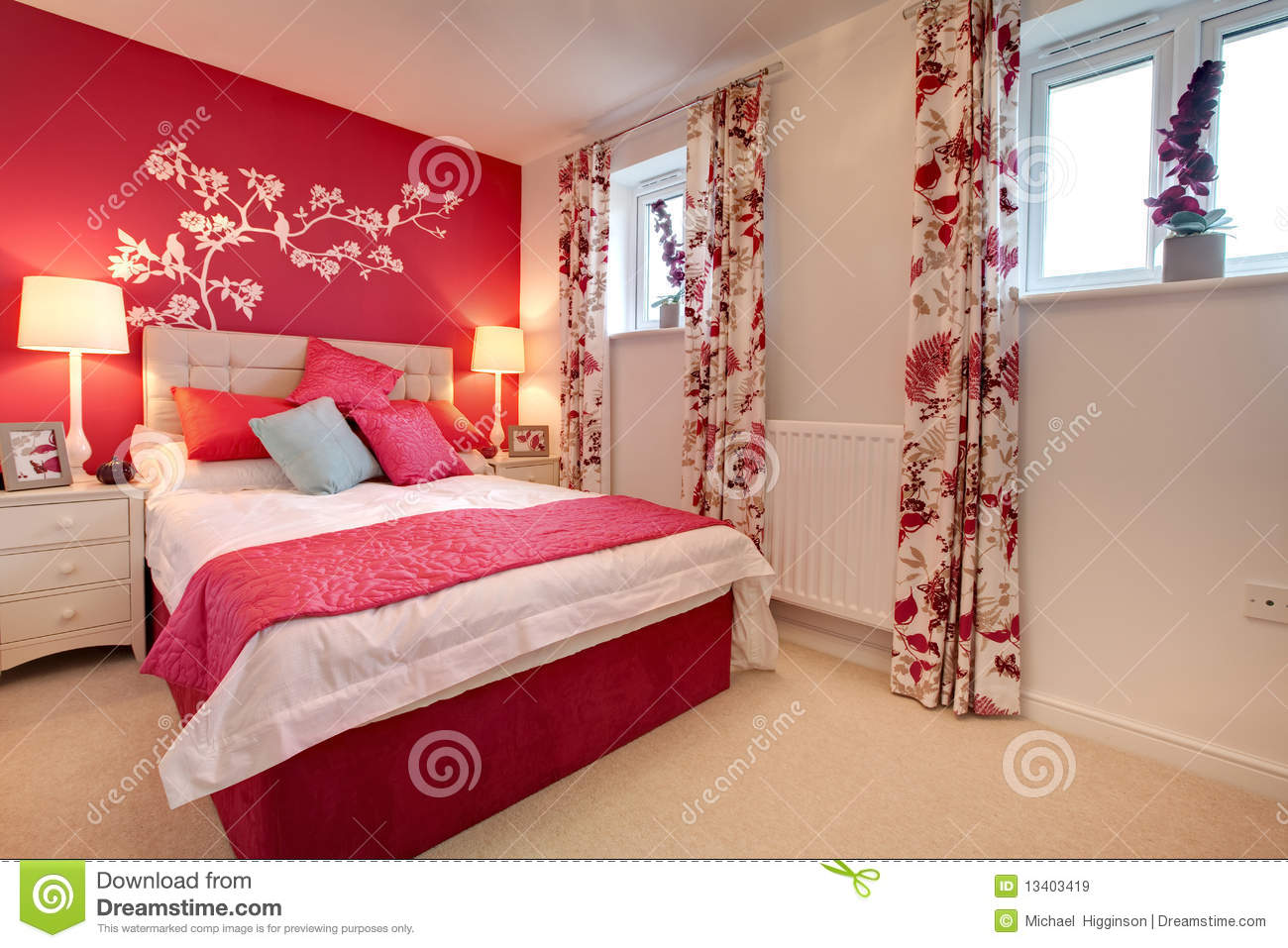Modern Brightly Decorated Bedroom Royalty Free Stock