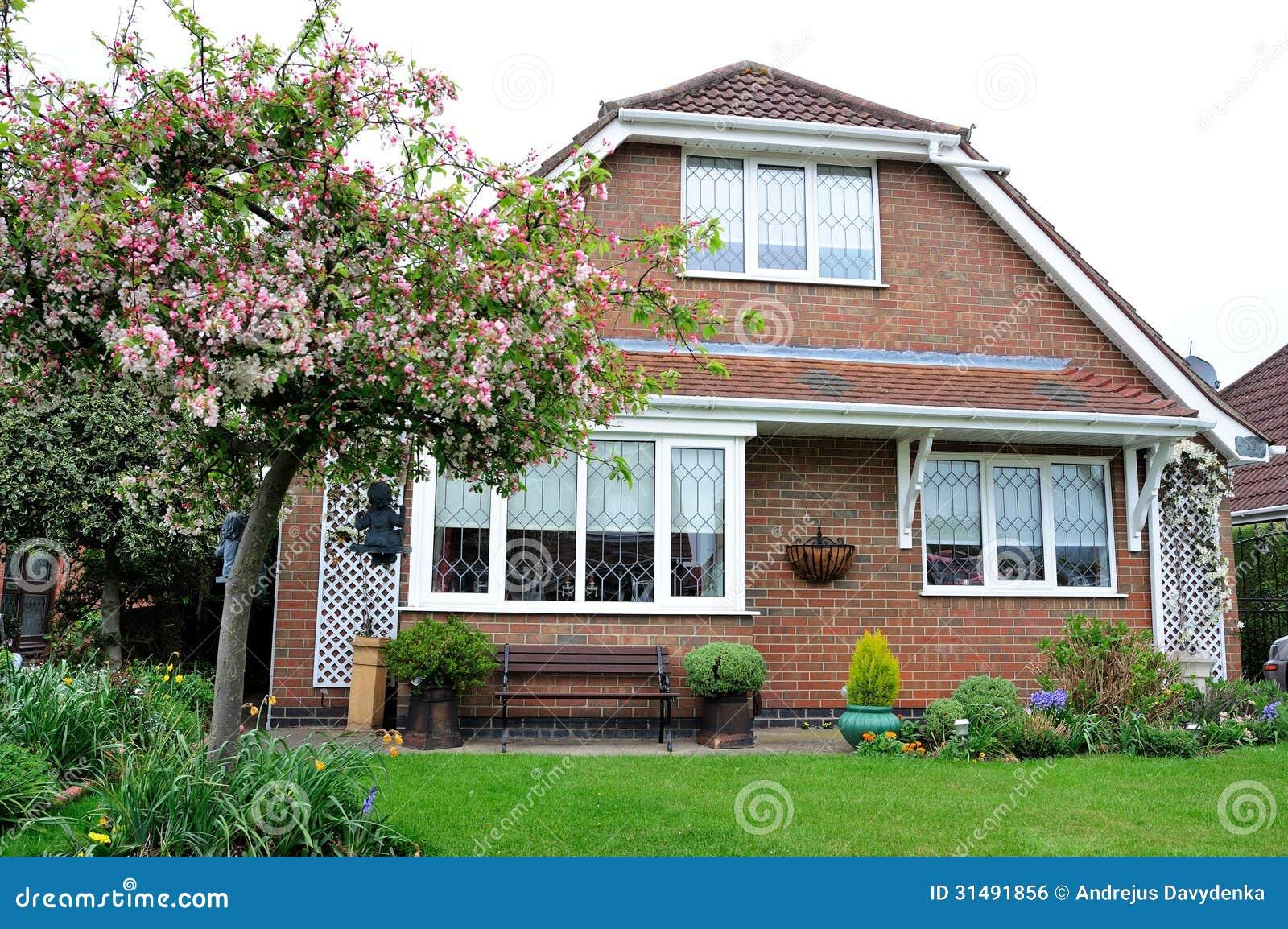 Modern British House With Garden Stock Photo