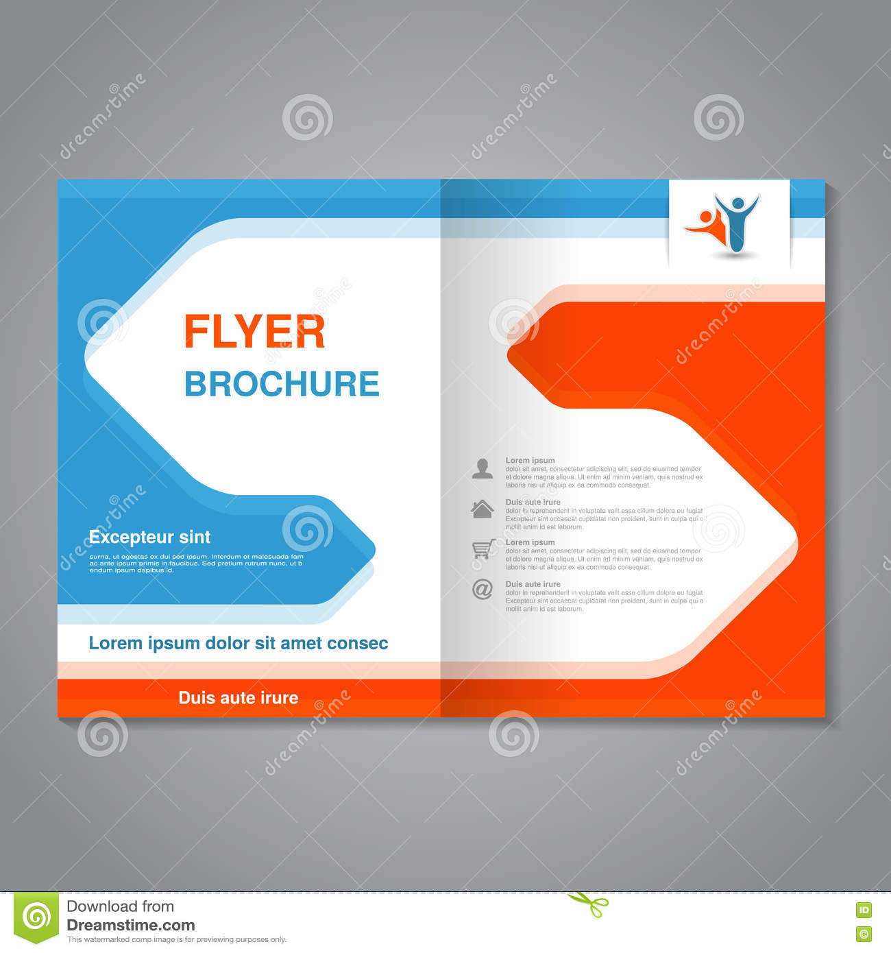 modern brochure abstract flyer with simple design layout template with arrows aspect ratio for a4 size poster of blue orange