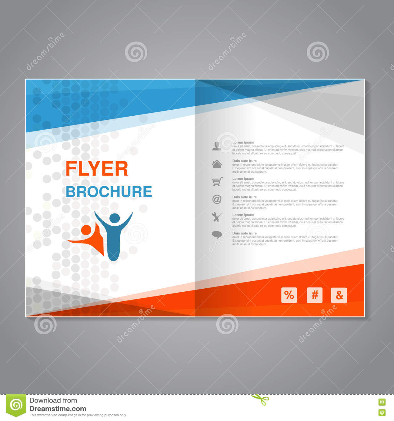 Poster design size - Modern Brochure Abstract Flyer With Simple Dotted Design Aspect Ratio For A4 Size Poster Of Blue Grey White And Orange Color
