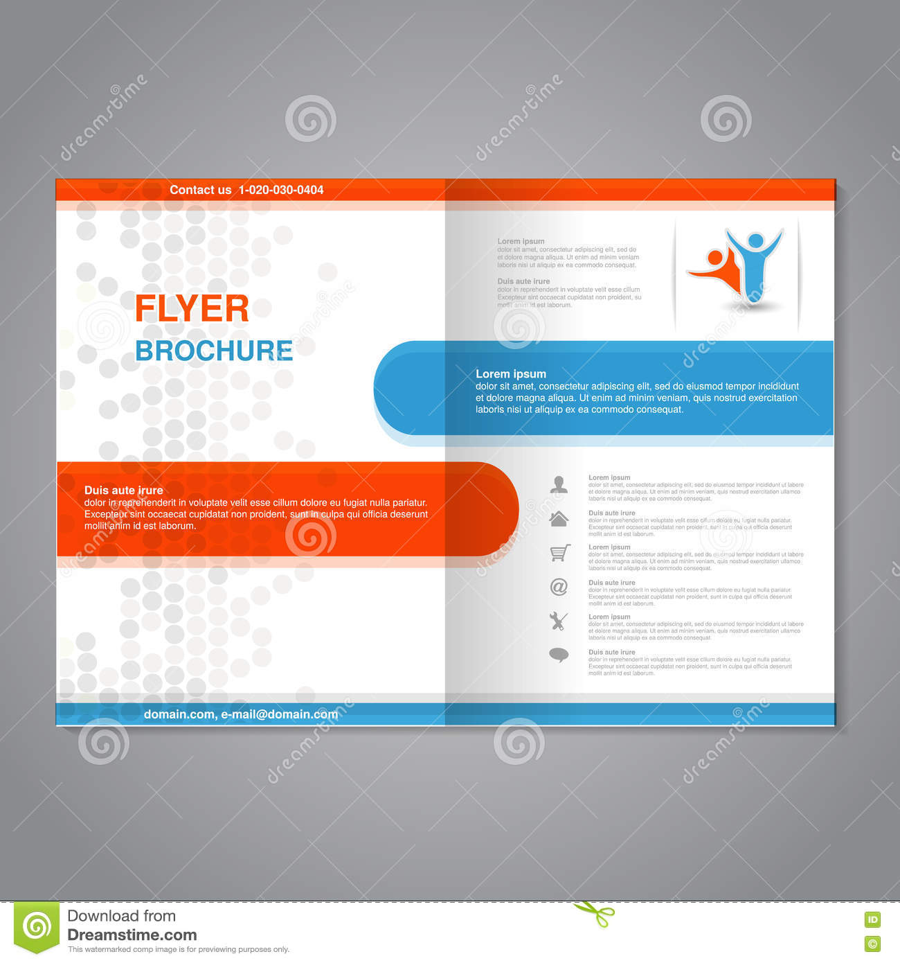 Poster design size - Modern Brochure Abstract Flyer With Simple Dotted Design Layout Template Aspect Ratio For A4 Size Poster Of Blue Orange Grey