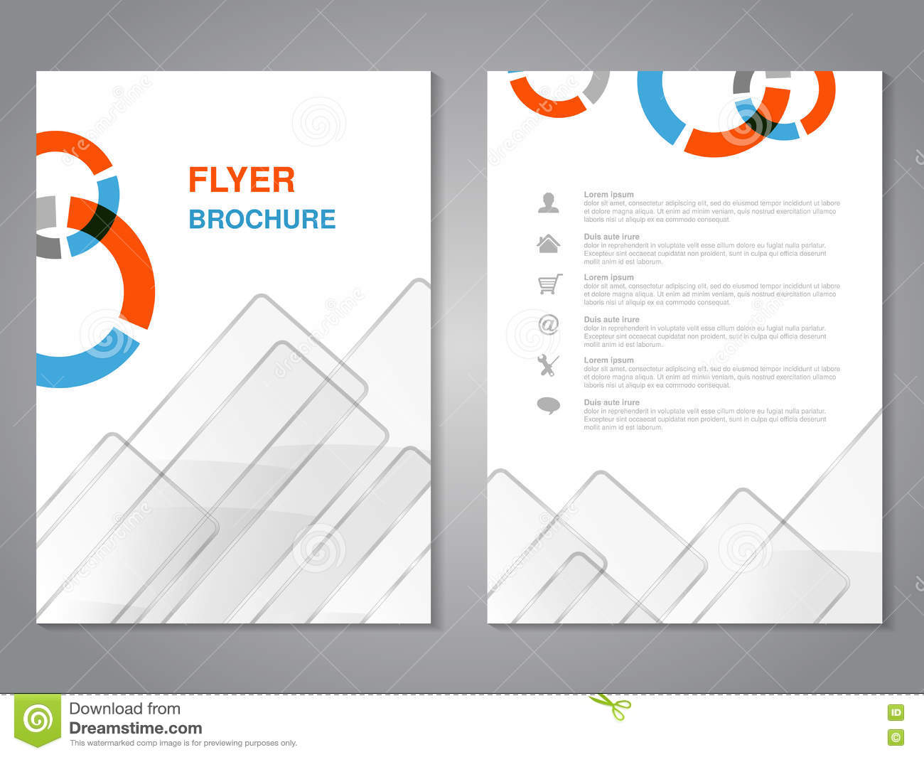 modern brochure abstract flyer with simple glass squared design