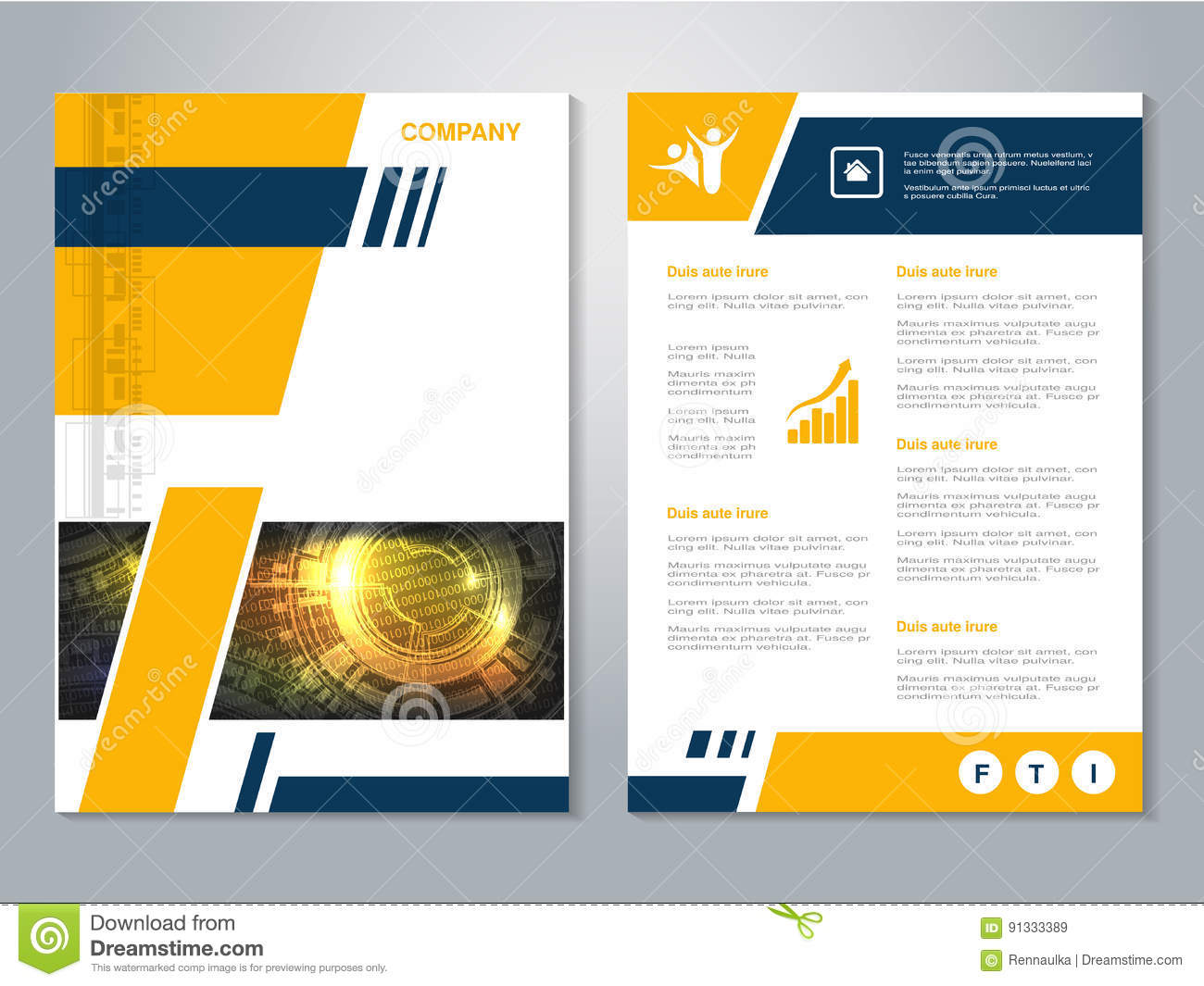 Poster design layout templates - Modern Brochure With Blue Yellow Design Abstract Flyer With Technology Background Layout Template
