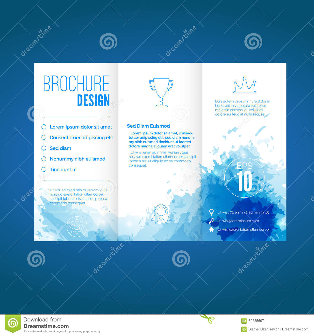 Modern brochure design with watercolor pattern