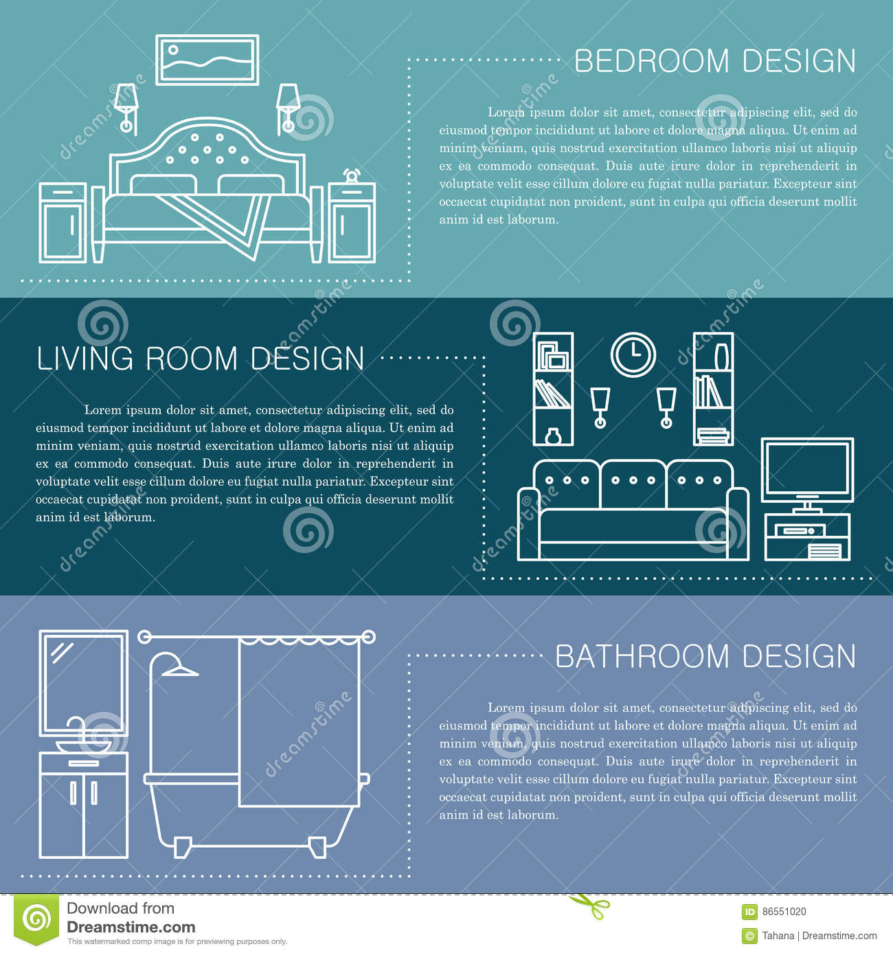 modern brochure flyer design template with line interior icons