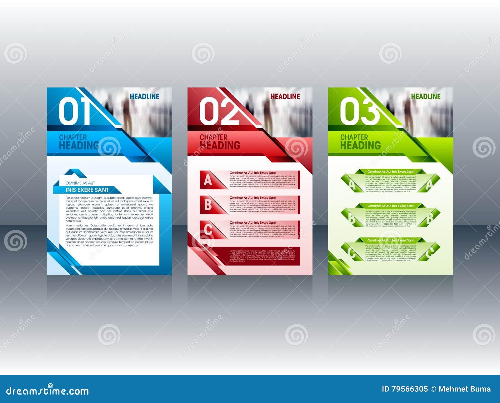 Modern brochureontwerp, de lay-outmalplaatjes van het vliegerpamflet Vector illustratie