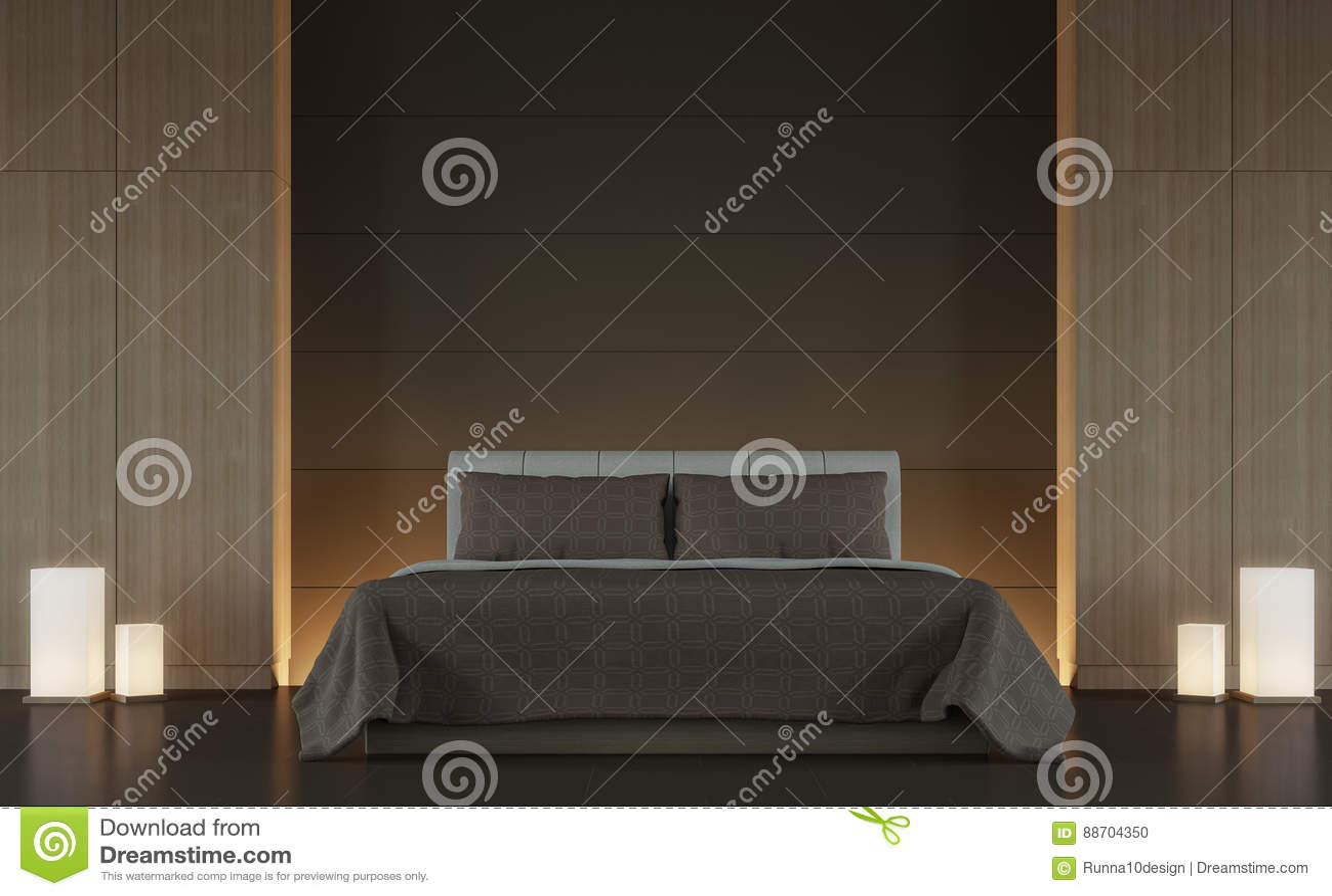 Modern Brown Bedroom Interior Minimal Style 3d Rendering Image Stock ...