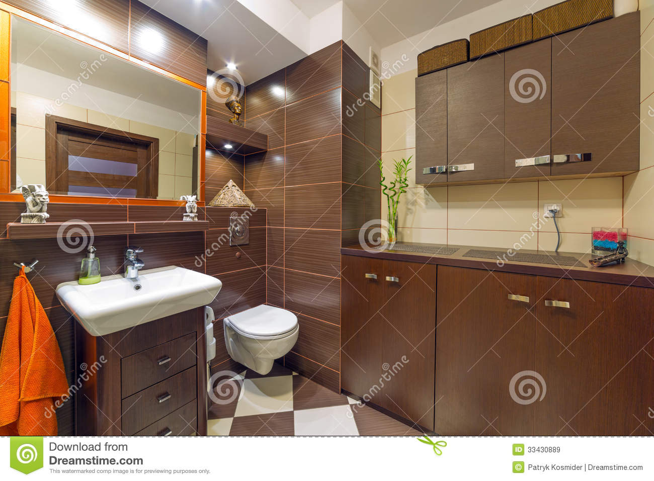 Modern Brown And Beige Bathroom Royalty Free Stock Images - Image ...