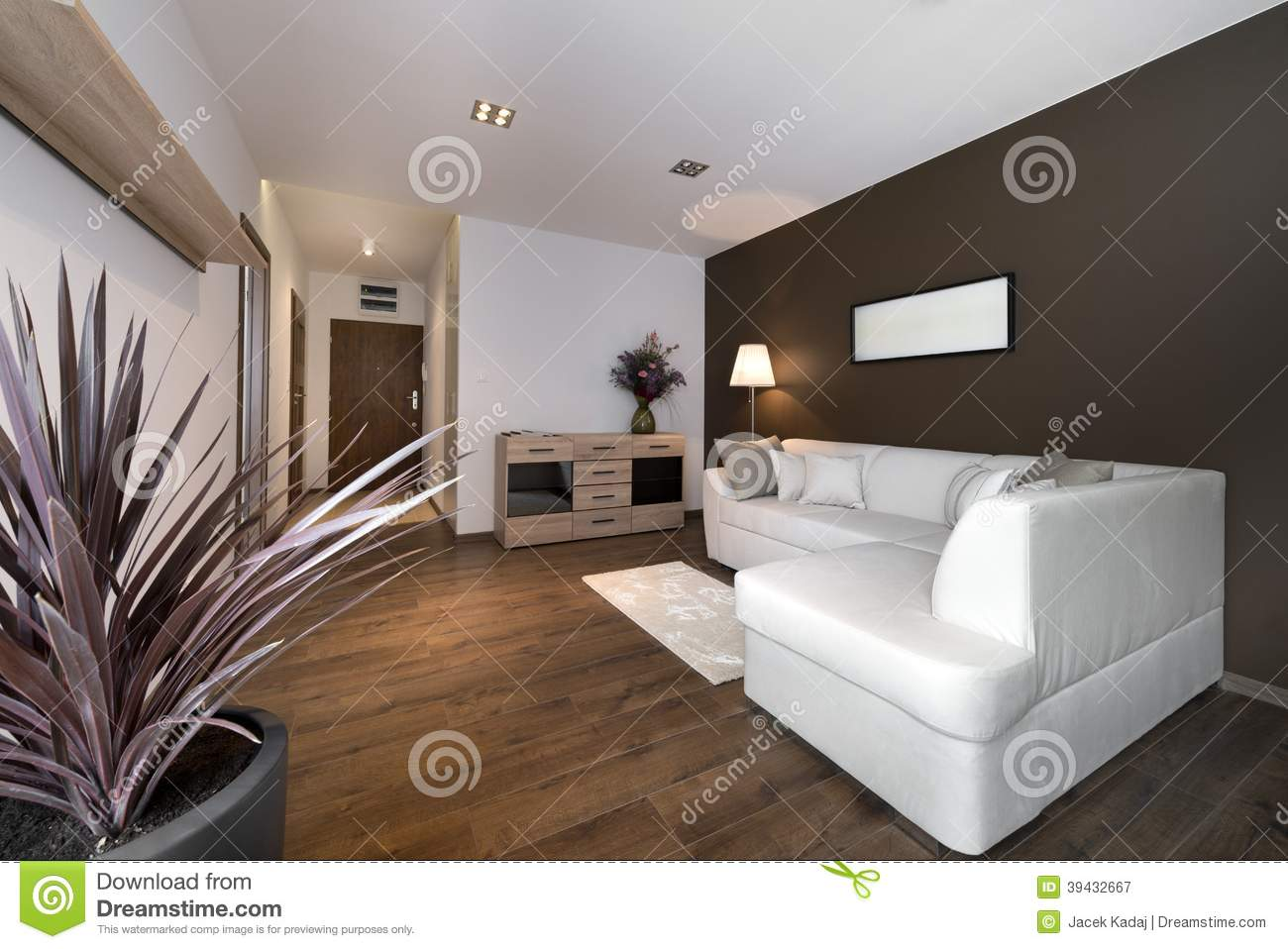 Modern Brown Interior Design Living Room Stock Photo - Image: 39432667