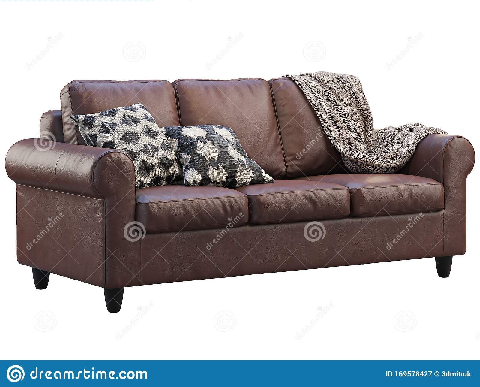 Picture of: Modern Brown Leather Sofa With Pillows And Plaid 3d Render Stock Illustration Illustration Of Throw Brown 169578427