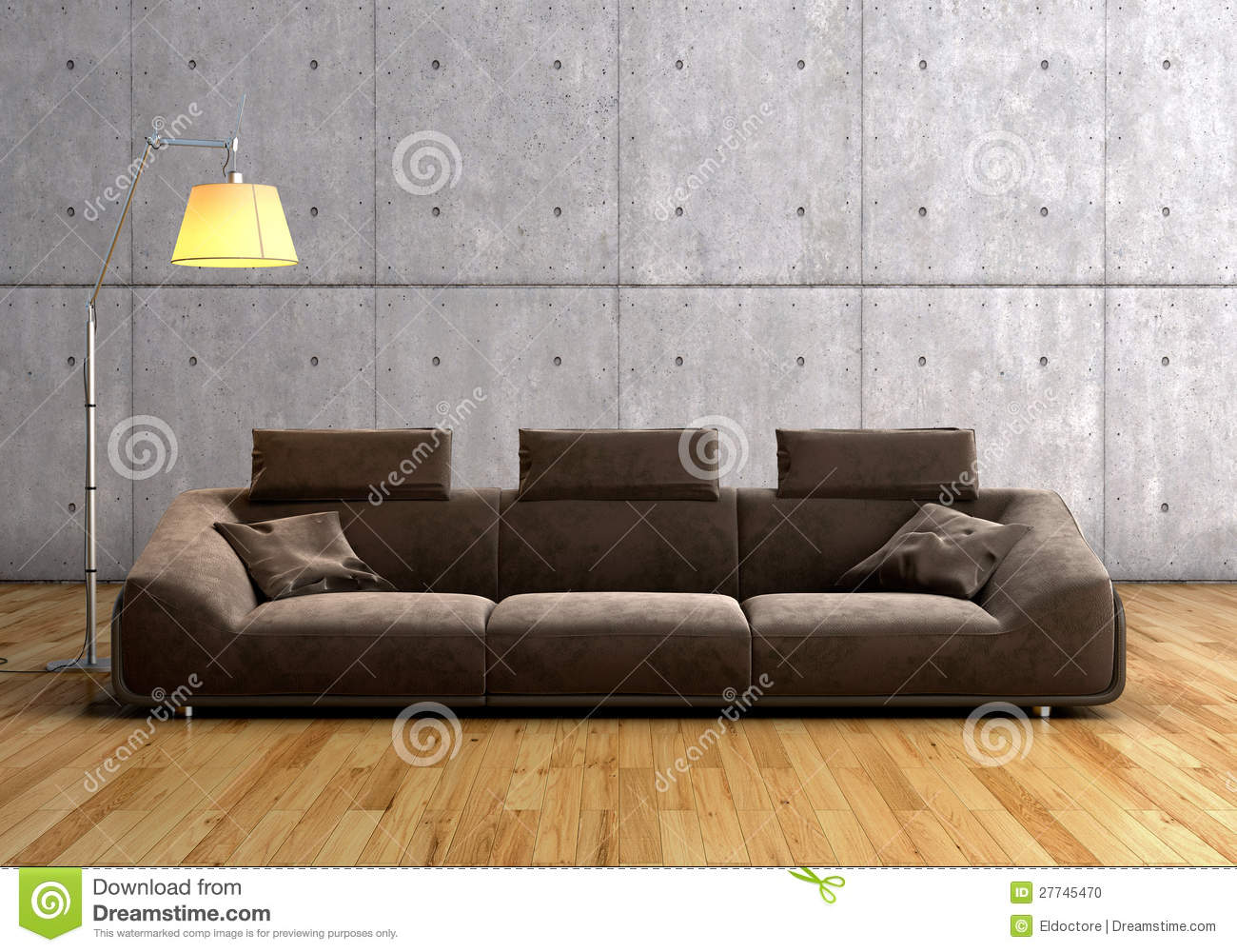 a modern brown sofa and lamp stock photo image 27745470. Black Bedroom Furniture Sets. Home Design Ideas