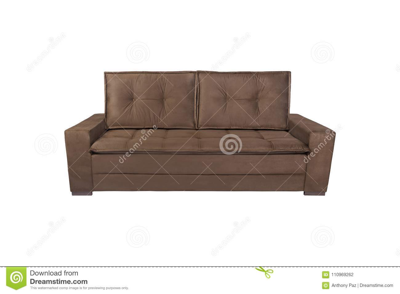 Modern Brown Suede Couch Sofa Isolated Stock Photo - Image ...