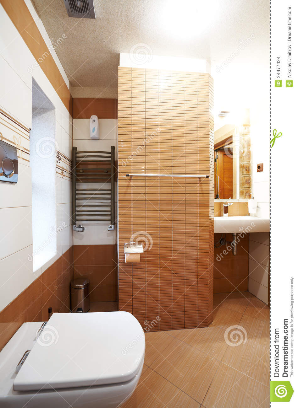 Modern Brown And White Bathroom Stock Images Image 24477424