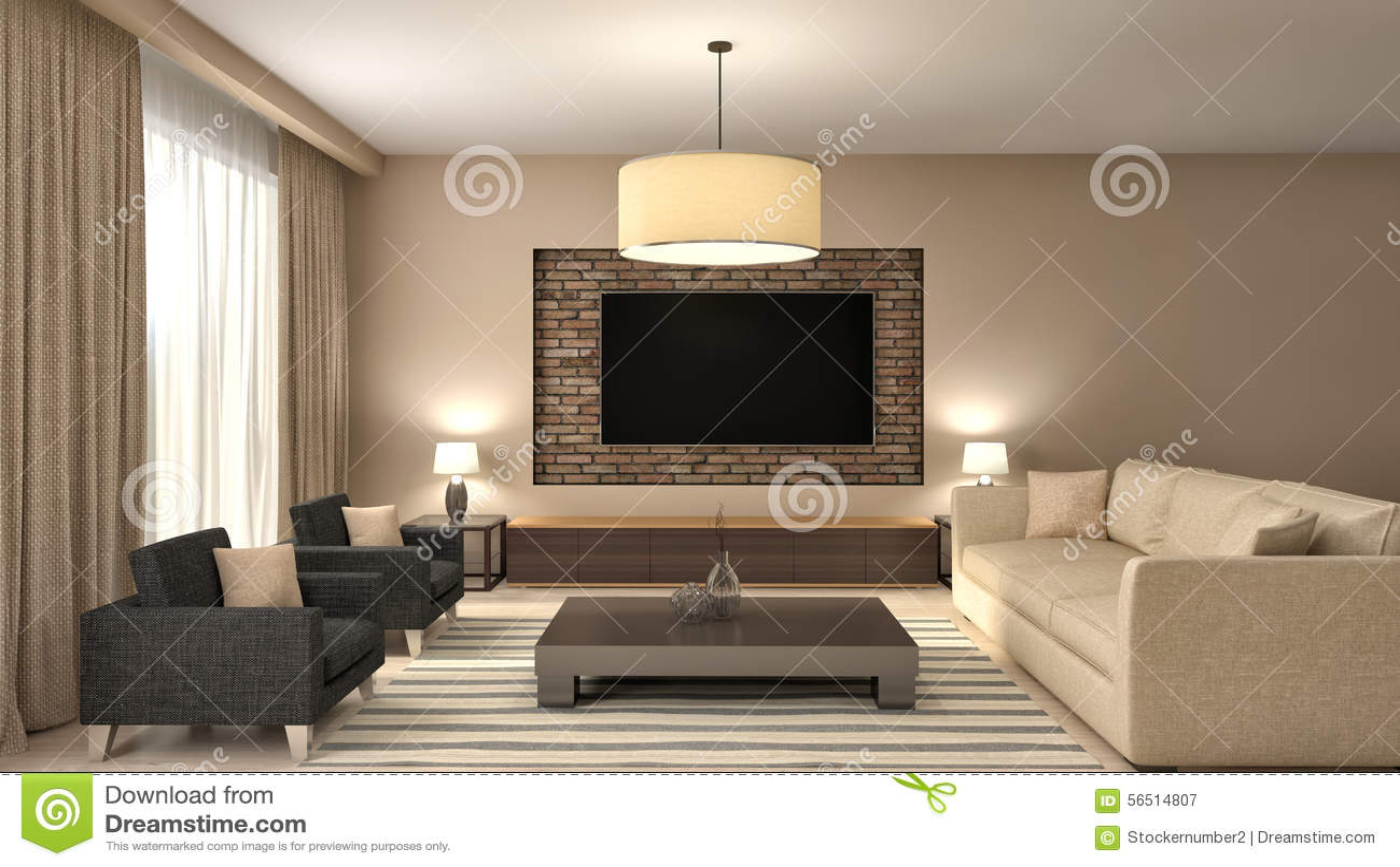 Modern bruin woonkamer binnenlands ontwerp 3d illustratie stock ...