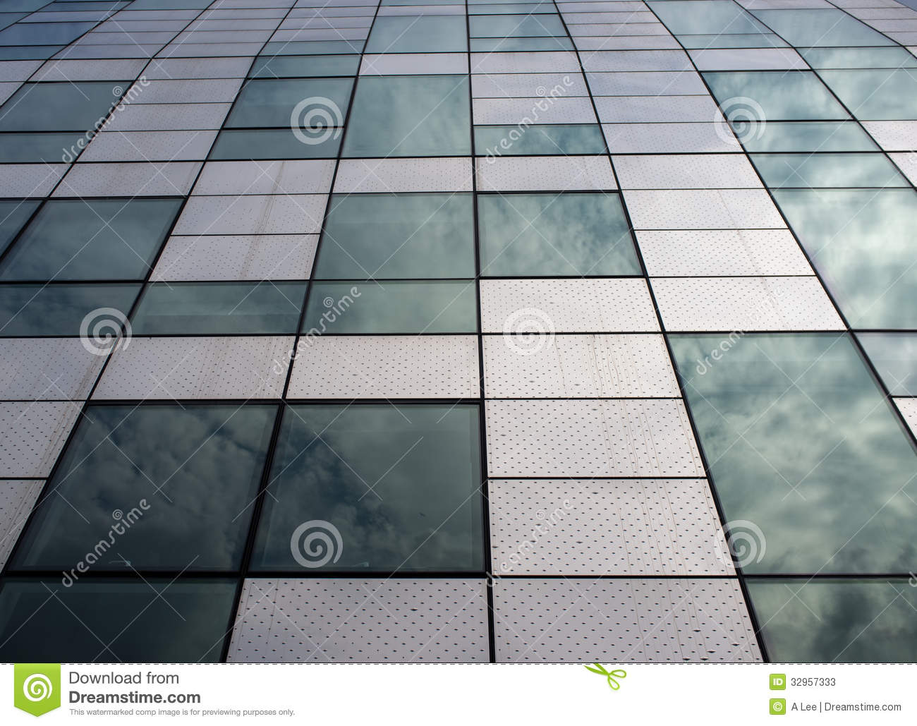Modern building with architectural feature using steel and glass