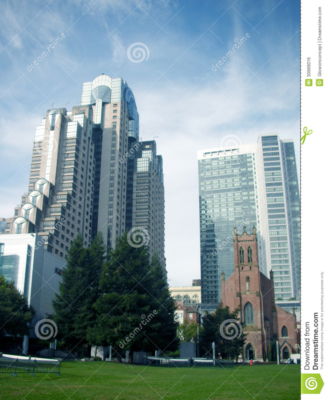 City Modern Building And Brick Church Royalty Free Stock