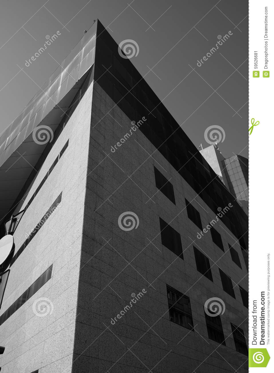 Modern building corner black white stock photo image for Modern black and white photography