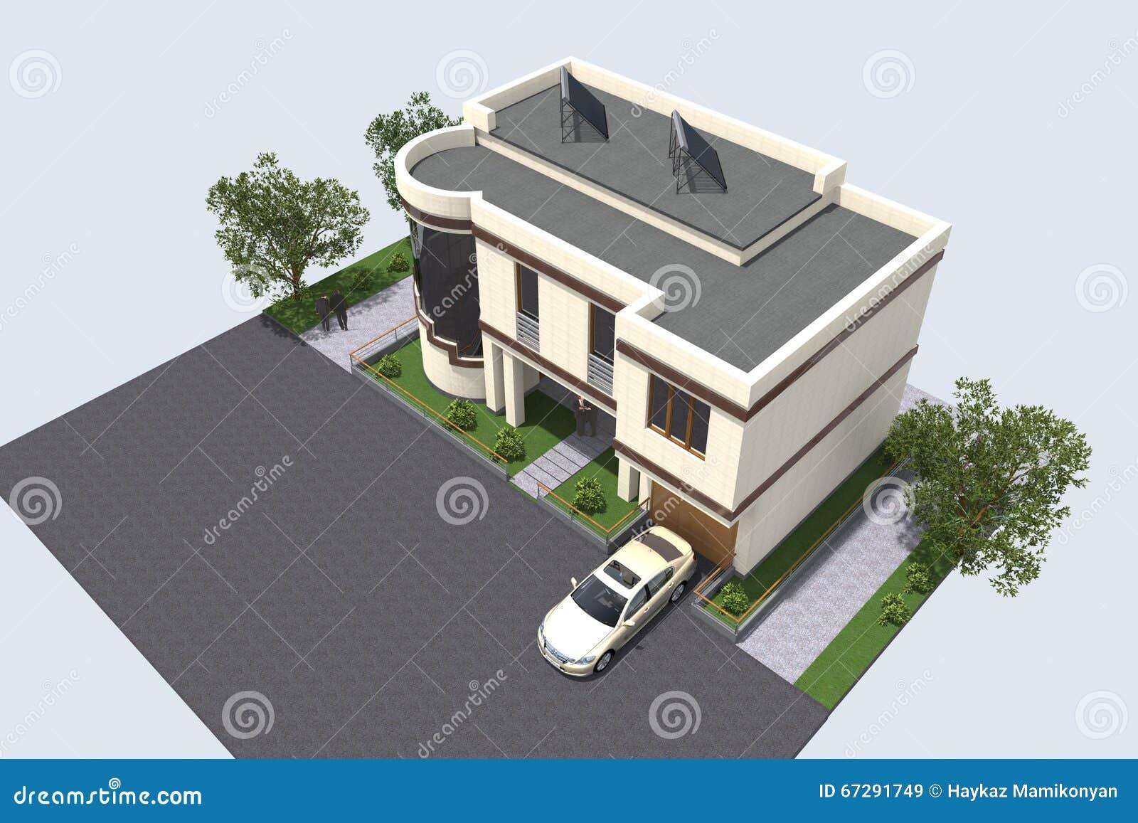 Modern building 3D stock illustration  Illustration of complex