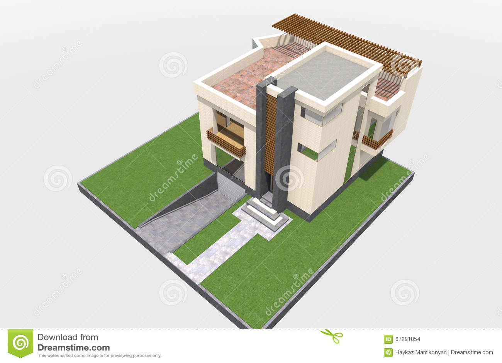 Modern building 3D stock illustration  Illustration of autocad