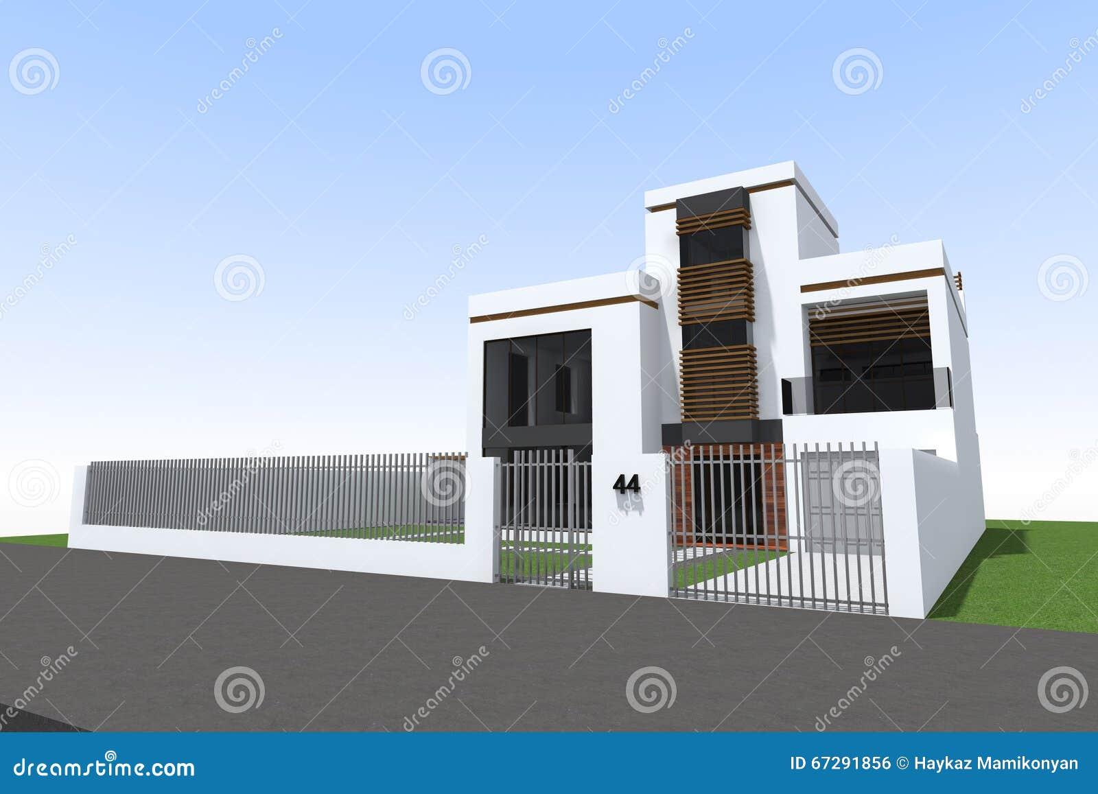 Modern building 3D stock illustration  Illustration of kitchen