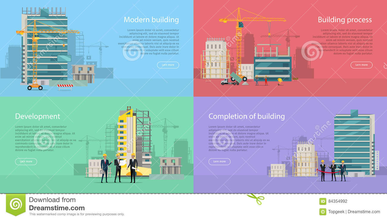 Modern Building Development Building Process Stock