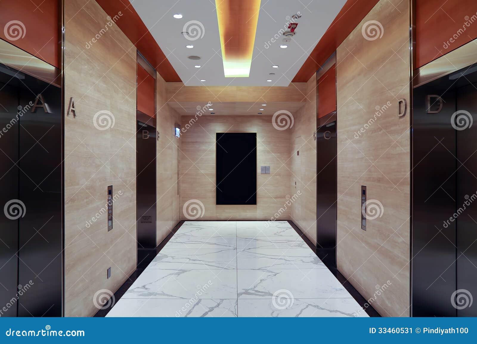 Modern building elevator lobby stock image image 33460531 for Modern elevator design