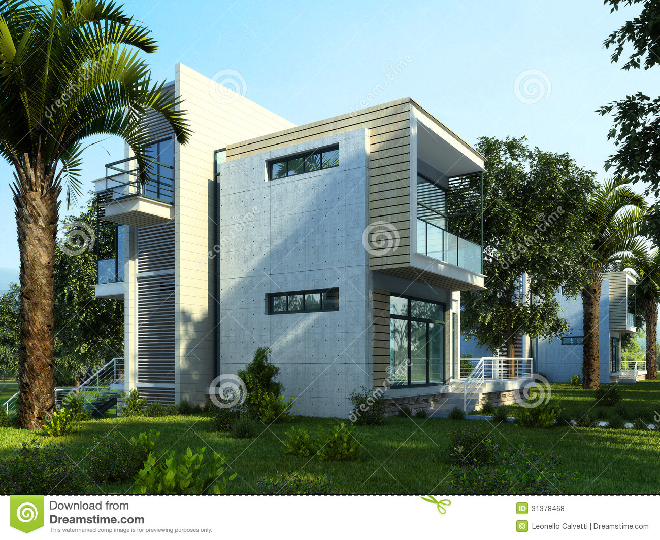 Download Modern Building With Garden And Trees. Stock Illustration - Illustration of nobody, mansion: 31378468