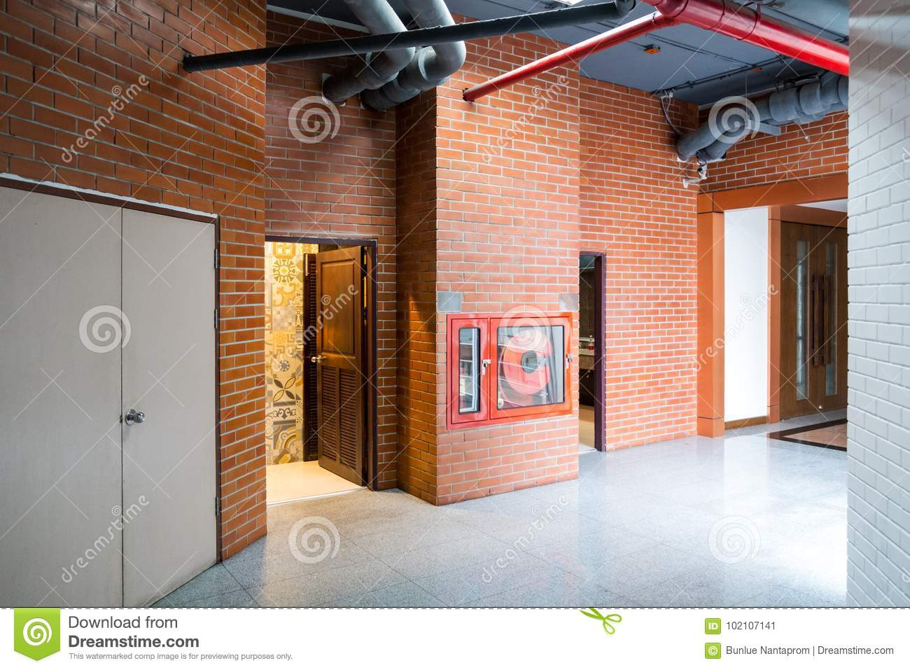 Modern Building Interior With Old Vintage Brick Wall Hallway Of Stock Image Image Of Ceiling Building 102107141
