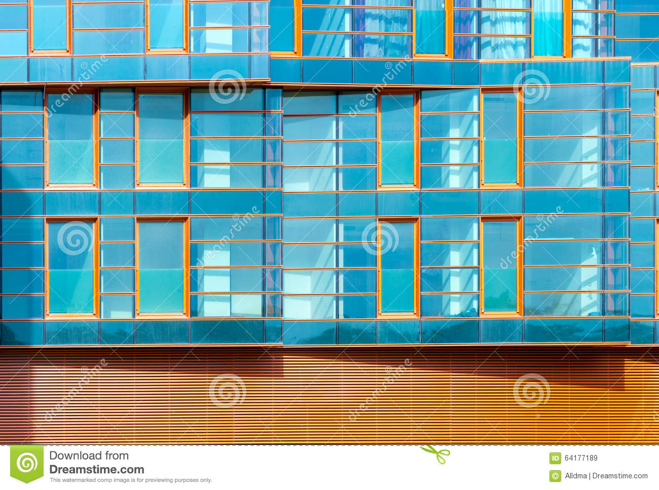 modern building mirror facade in blue tone stock image image of