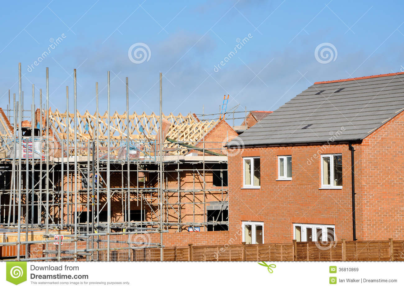 Modern building site constructing modern homes royalty for Modern building construction