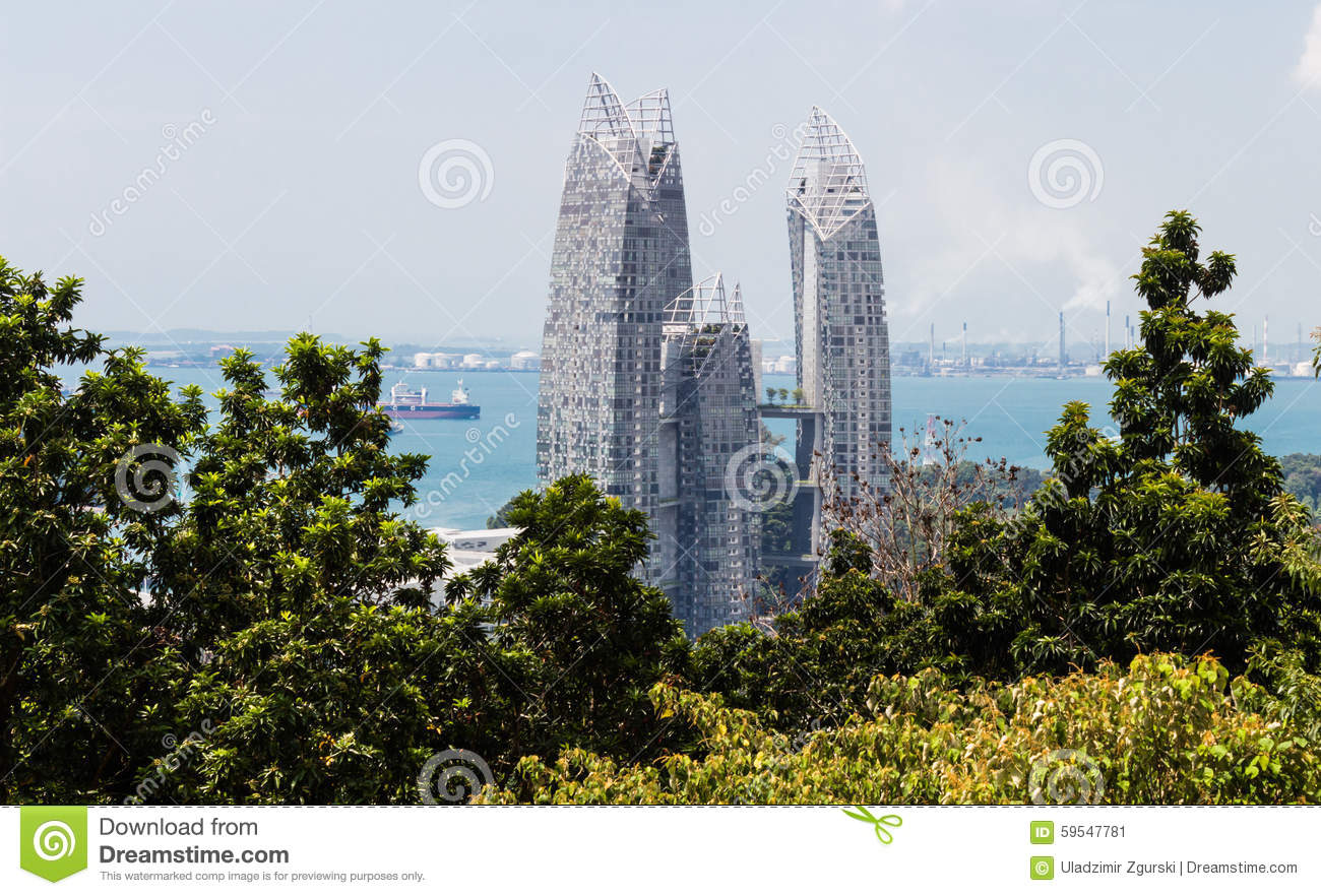A modern building surrounded by jungle stock image