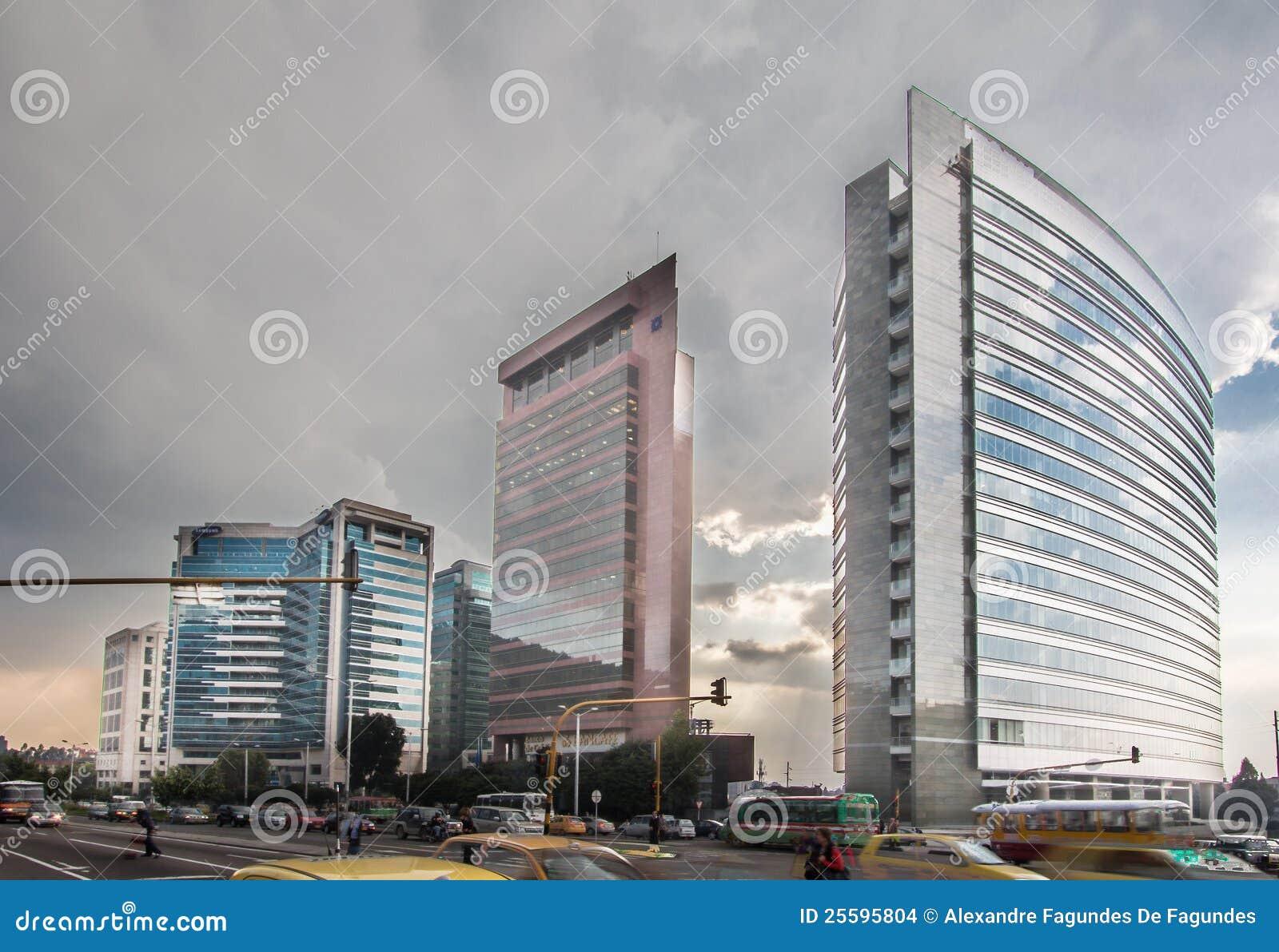 modern buildings in bogota colombia editorial stock image