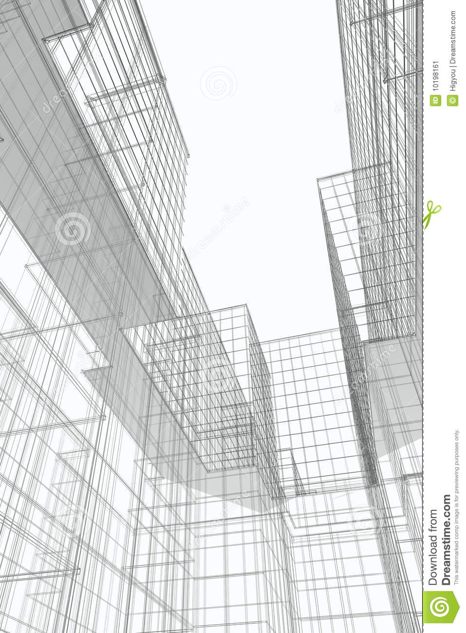 modern buildings courtyard  wireframe stock image