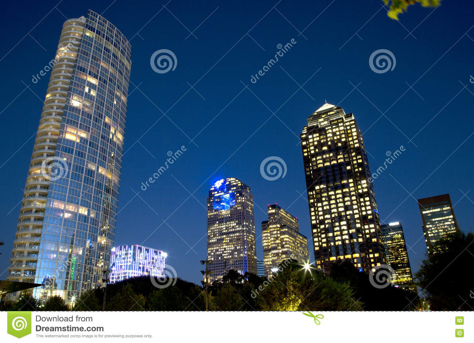 Modern buildings in downtown Dallas night