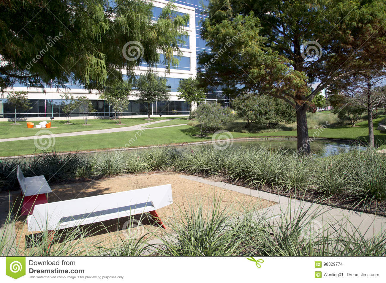 Modern buildings and landscapes design in Hall Park