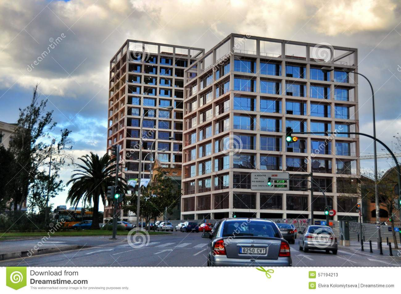 View of multi lane road and contemporary residential building in valencia spain