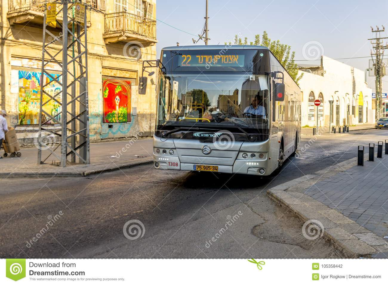 Download Modern Bus On The Main Street Of Beer Sheva Editorial Photography    Image Of Horizontal