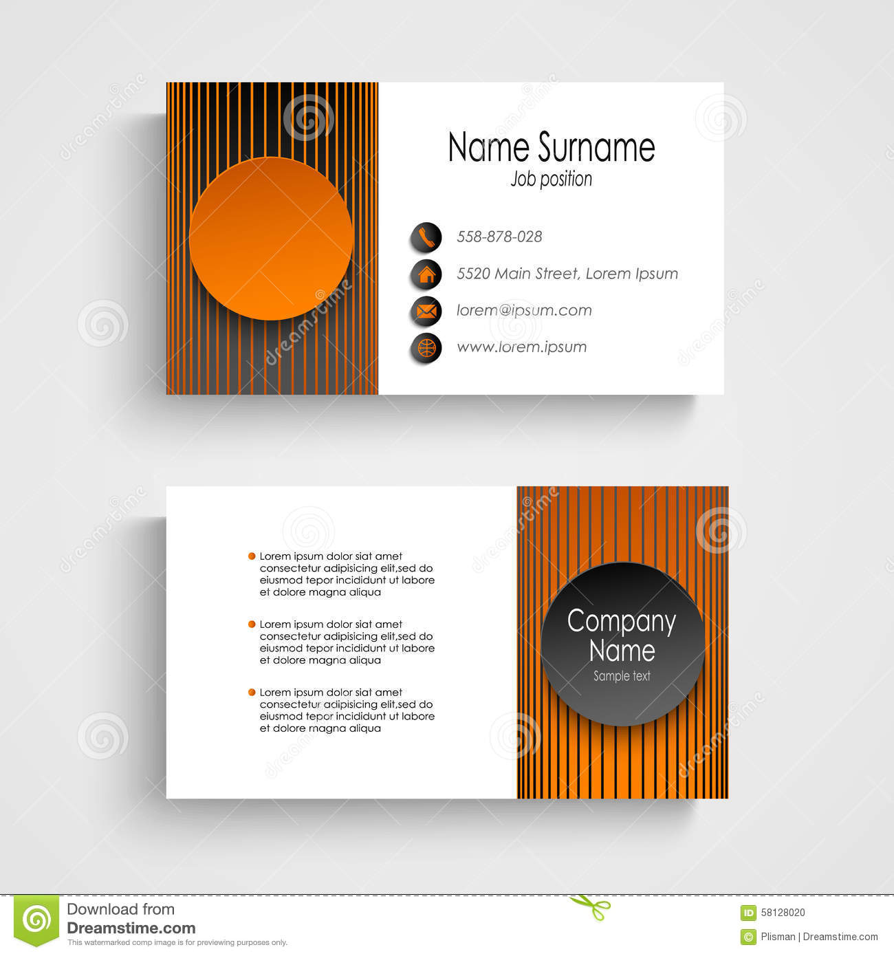 Modern business card with black orange round template stock vector download comp wajeb Image collections