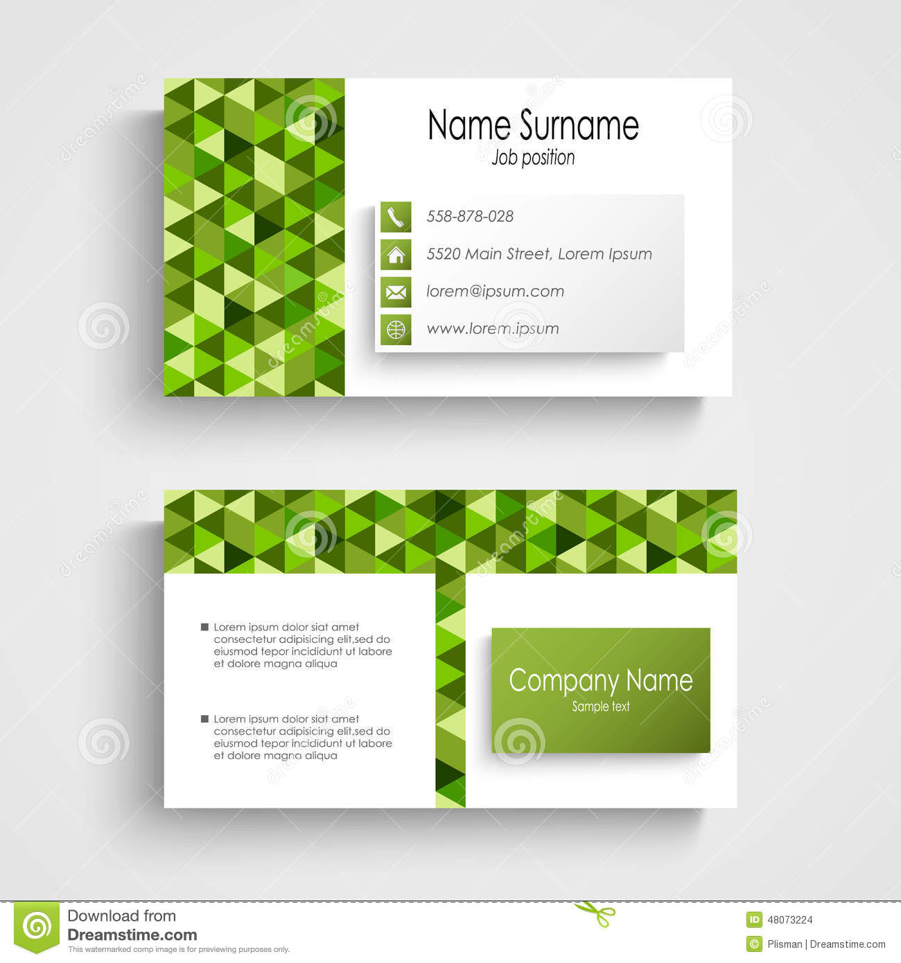modern business card with green a triangular pattern stock vector