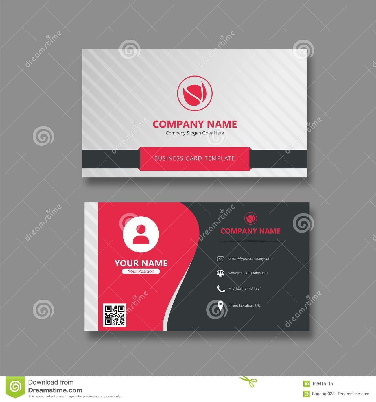 Best Modern Business Card With Cool Stip Stock Vector Illustration