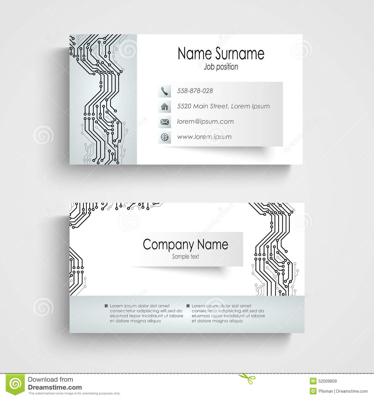 Modern business card with printed circuit board stock vector download modern business card with printed circuit board stock vector illustration of retail design colourmoves