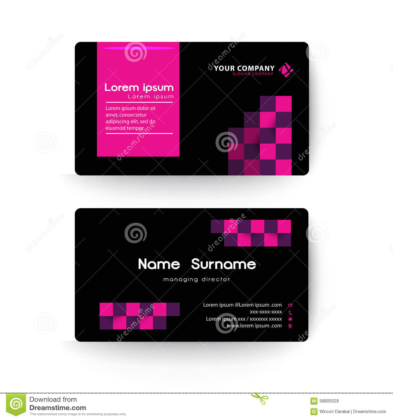 Modern business card template black and pink color stock vector modern business card template black and pink color cheaphphosting Choice Image