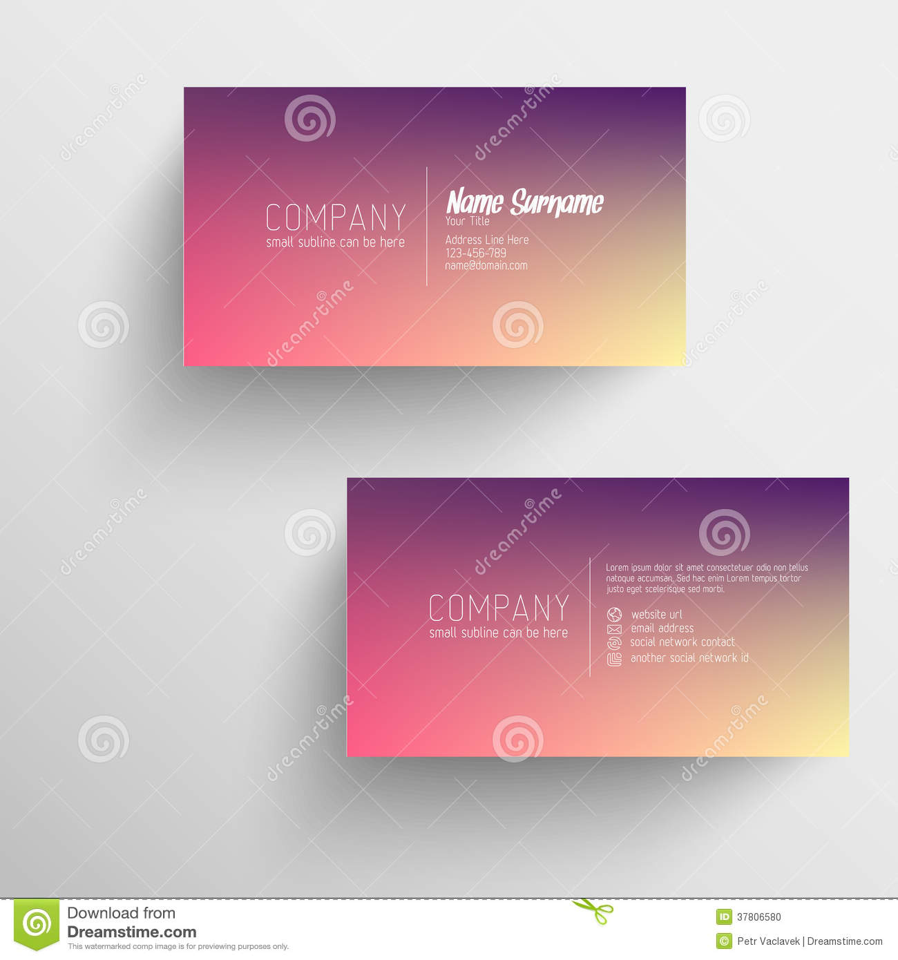 Modern Business Card Template With Blurred Background