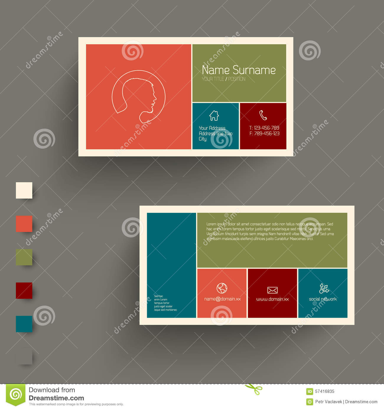 Modern Business Card Template With Flat Mobile User Interface Stock