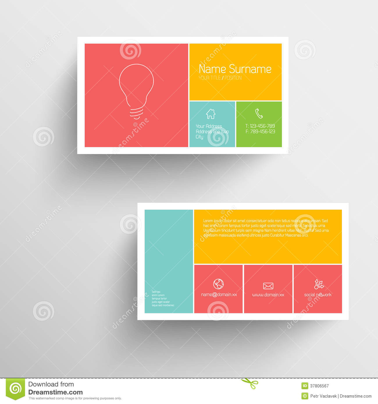 Modern Business Card Template With Flat Mobile User Interface Stock ...