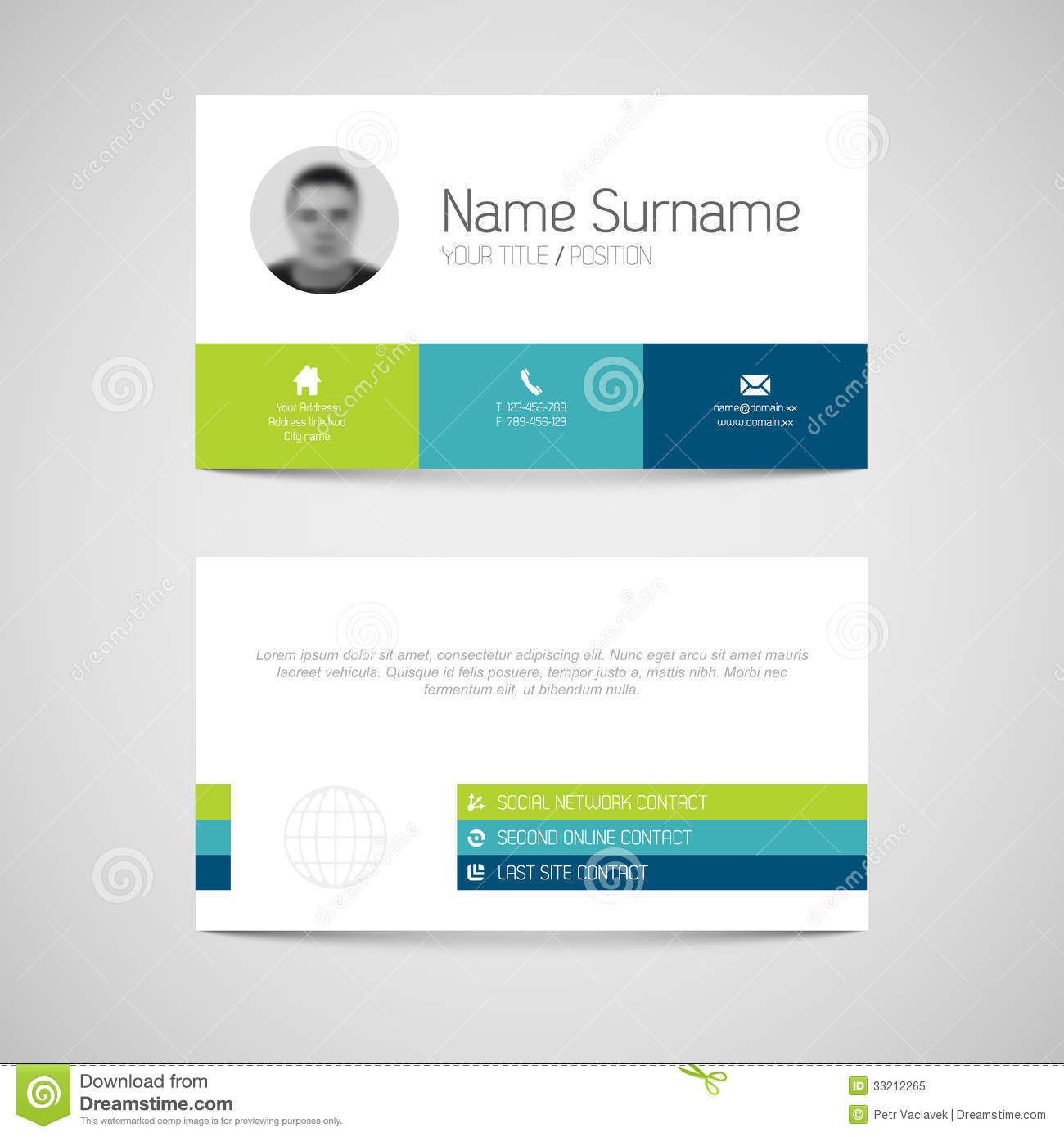 Modern Business Card Template With Flat User Interface Stock - Business card template with photo