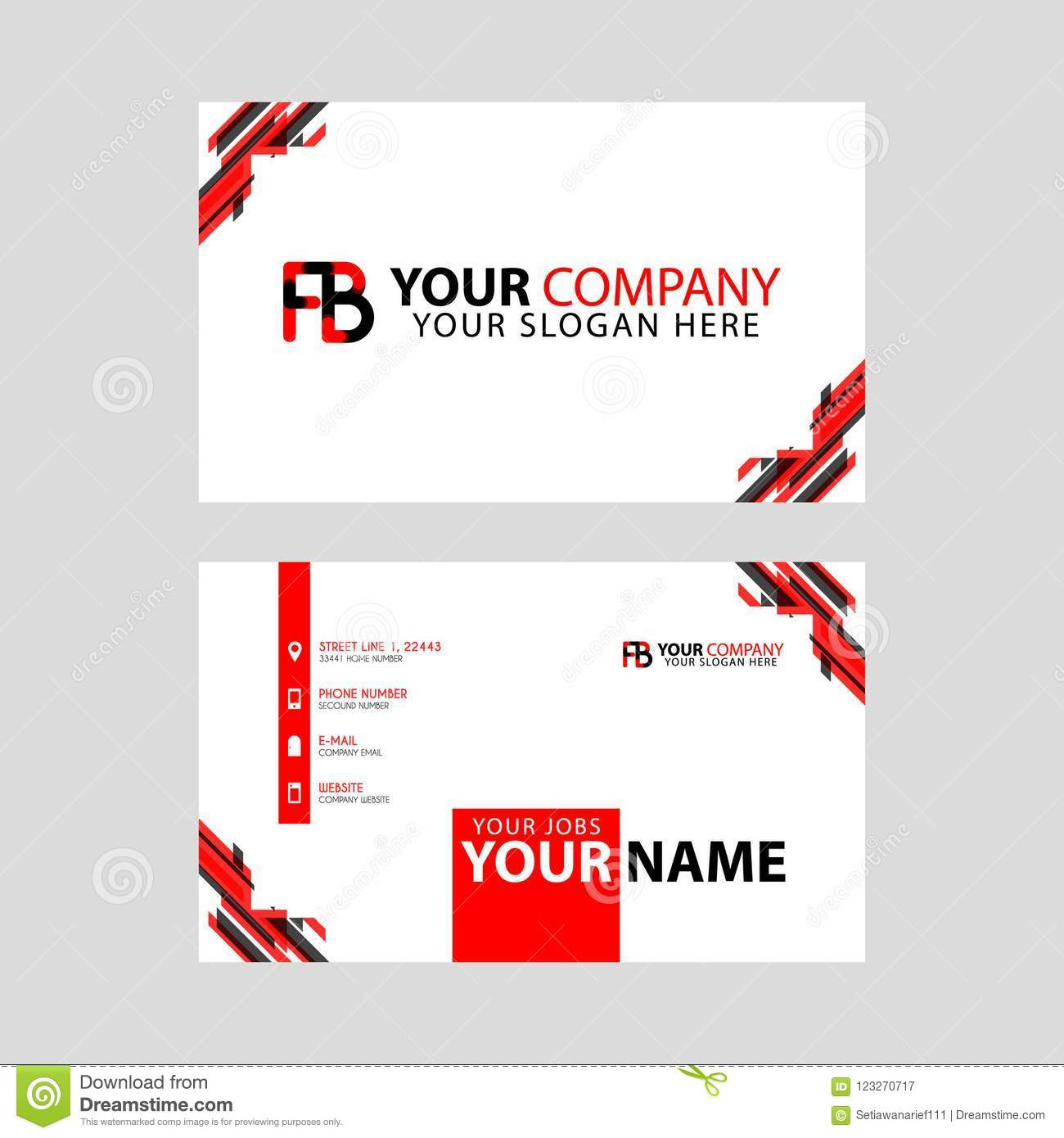 Modern Business Card Templates With Fb Logo Letter And Horizontal Design And Red And Black Colors Stock Vector Illustration Of Template Identity 123270717