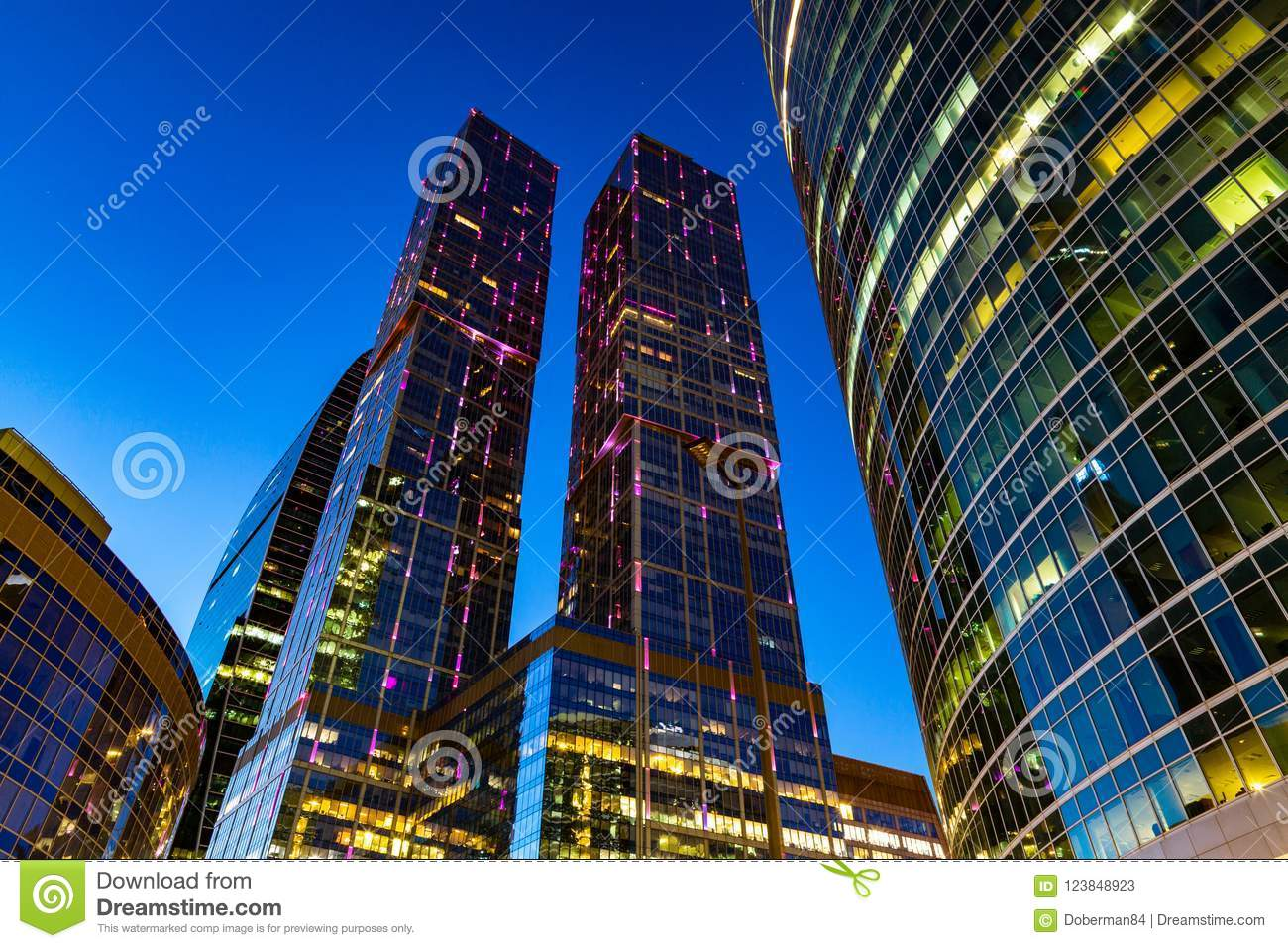 Modern Business Center In The Night Lights Stock Image