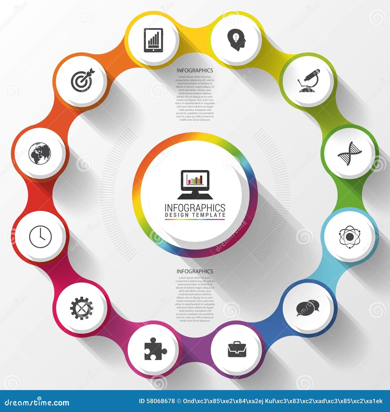 Modern business circle colorful design. Options banner. Infographics. 12 twelve components. Vector illustration
