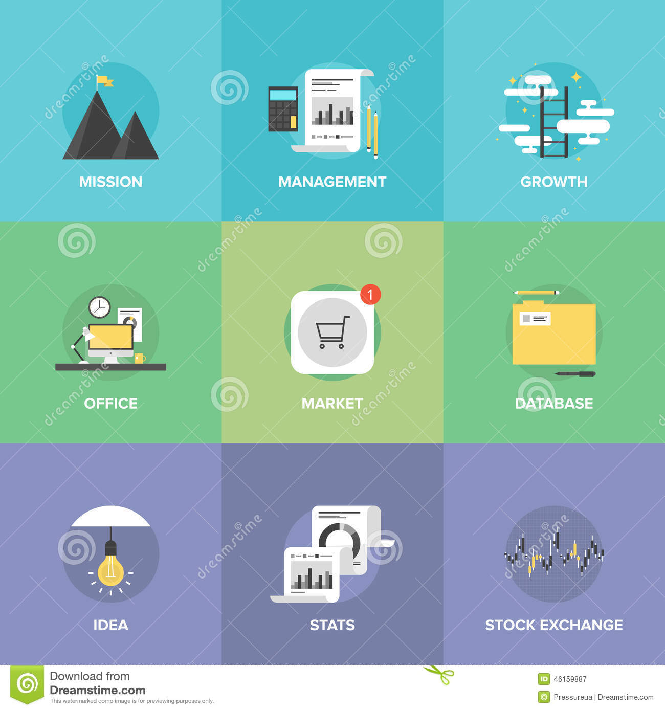Modern Business Development Flat Icons Set Stock Vector